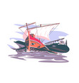 ancient rome boat composition vector image vector image