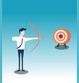 archery shoots arows for successful goal vector image