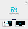 b letter business logo template with business card vector image