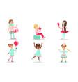 beautiful girls doing different activities set vector image vector image