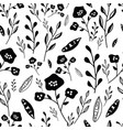 black and white hand drawn flowers seamless vector image