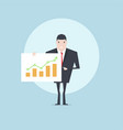 businessman present growing business graph vector image