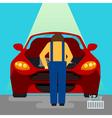 Car Service Serviceman at Work vector image vector image
