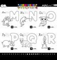 color book educational cartoon alphabet letters vector image vector image