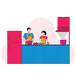couple cooking together vector image