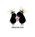 couple moose in crowns vector image vector image