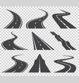 curved roads set asphalt road or way and vector image