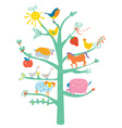 Cute card with tree and animals for kids vector image