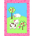 Cute farm animals on a hill embroidery vector image