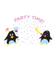 Cute holiday party penguins vector image vector image