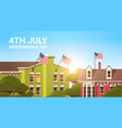 decorated buildings with usa flags 4th july vector image vector image