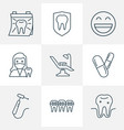 dental icons line style set with drill dentist vector image vector image