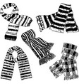 drawings of the wool knitted scarves vector image