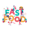 fast food typography banner template flat vector image