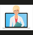female woman doctor with online medical vector image vector image