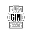 gin vintage label design dry strong drink vector image vector image