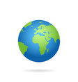 globe world map with shadow on a white background vector image vector image