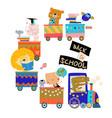 happy cartoon animals riding to school vector image vector image