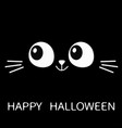 happy halloween black cat face in the dark cute vector image vector image