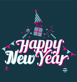 Happy New Year Text with Party Icons vector image vector image