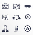 Icons of different companies with their specializa vector image vector image
