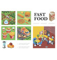isometric fast food composition vector image vector image