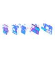 isometric sets concepts screens smartphones vector image