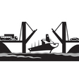 Merchant ship passes under a drawbridge vector image vector image