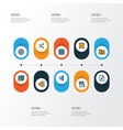multimedia icons colored line set with mute vector image