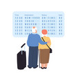 old couple at airport vector image vector image
