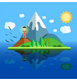 paradise island with mountain hill tree and birds vector image