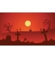 Red backgrounds Halloween tomb silhouette vector image vector image