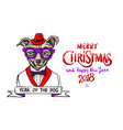 red merry christmas and happy new year 2018 vector image vector image