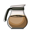 rounded glass jar of coffee with handle colorful vector image vector image
