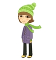 Sad girl standing alone and not smiling vector image vector image