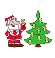 Santa decorating tree with dollars vector image