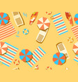 seamless beach top view chaise lounge vector image