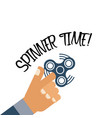 spinner time background with flat hand holding vector image vector image