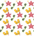 star fish and sunglasses seamless pattern vacation vector image vector image