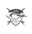 surfing club logotype vector image vector image