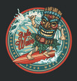 surfing vintage round colorful label vector image vector image
