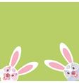 two funny bunny peeking from corner vector image