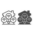 wifi connection in house line and solid icon vector image vector image