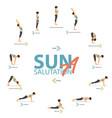 yoga sun salutation a infographic vector image