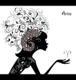 Zodiac sign aries fashion girl vector image vector image