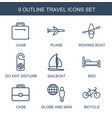 9 travel icons vector image vector image