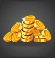 a mountain of gold coins vector image vector image
