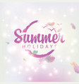 a soft pink banner with words summer holidays vector image vector image