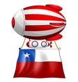 A stripe-colored balloon with the flag of Chile vector image vector image