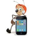 Ant in helmet shows on screen smartphone vector image